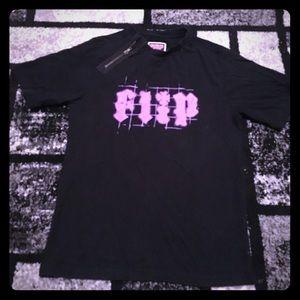 Men's Black Flip t shirt with zipper